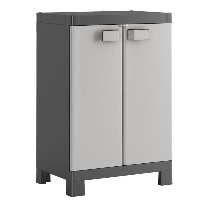 KIS Armoire de rangement basse Logico - 65 x 45 x 97 cm - Noir et gris