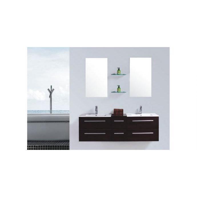 Meuble de salle de bain Venus 2 vasques + 2 miroirs - Wengé