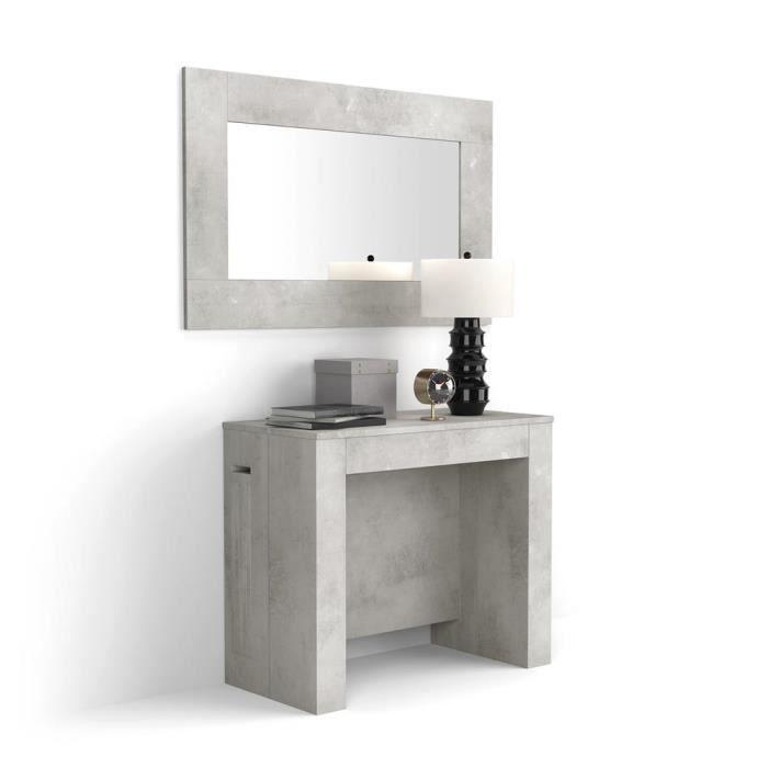 Mobili Fiver, Table Console Extensible avec rallonges intégrées, Easy, Béton, Mélaminé/Aluminium, Made in Italy