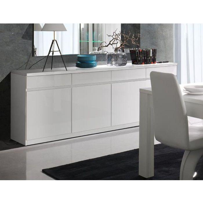 Buffet, bahut, enfilade 4 portes et 4 tiroirs FABIO. Blanc laqué high gloss. Meuble design pour votre salon salle à manger