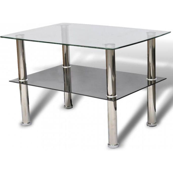 Table basse de salon design verre noir blanc 2 plateaux 65 x 45 cm 0902029