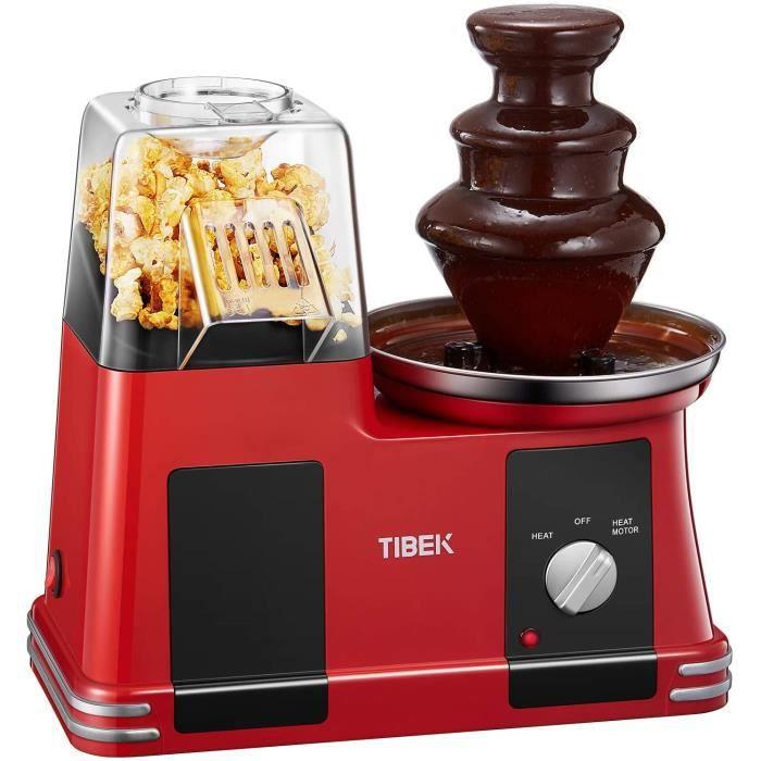 Machine à Popcorn 2 en 1 avec Fontaine à Chocolat, 1200W TIBEK Appareil à Pop Corn Eléctrique avec Air Chaud, Tasse à Mesurer et Gra