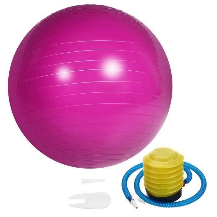 Ballon de Yoga 65cm Fitness Sport Exercice + Pompe Rose