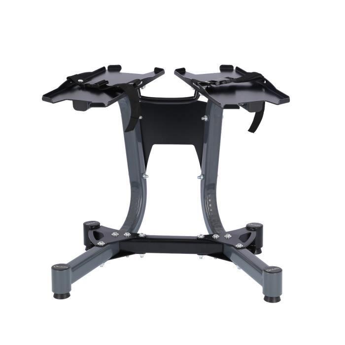 HMSPORT - Support d'haltères en acier réglable - Squat Rack Musculation - Repose Haltère - Avec oues de transport - Noir