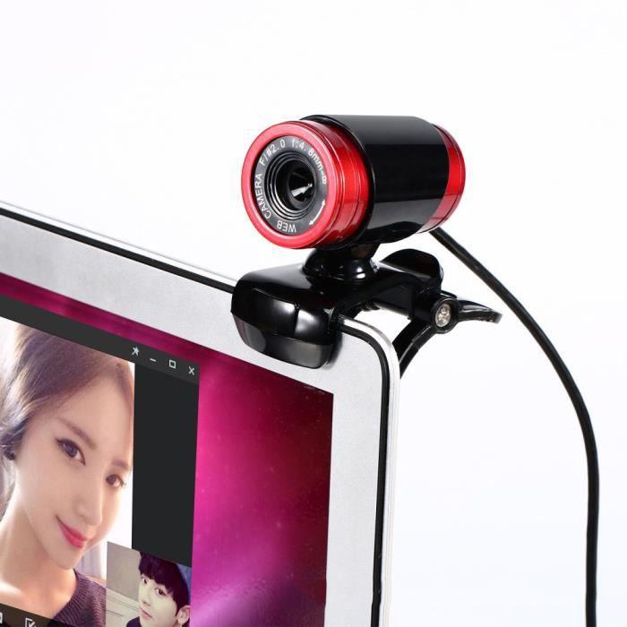 A860 Caméra webcam 50Mp avec micro pour ordinateur de bureau pc portable Noir + rouge