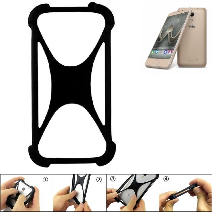 Pare-chocs pour téléphone portable pour Wiko U Feel Prime Silicone Bumper protection Housse TPU Softcase Protector Noir (1x)