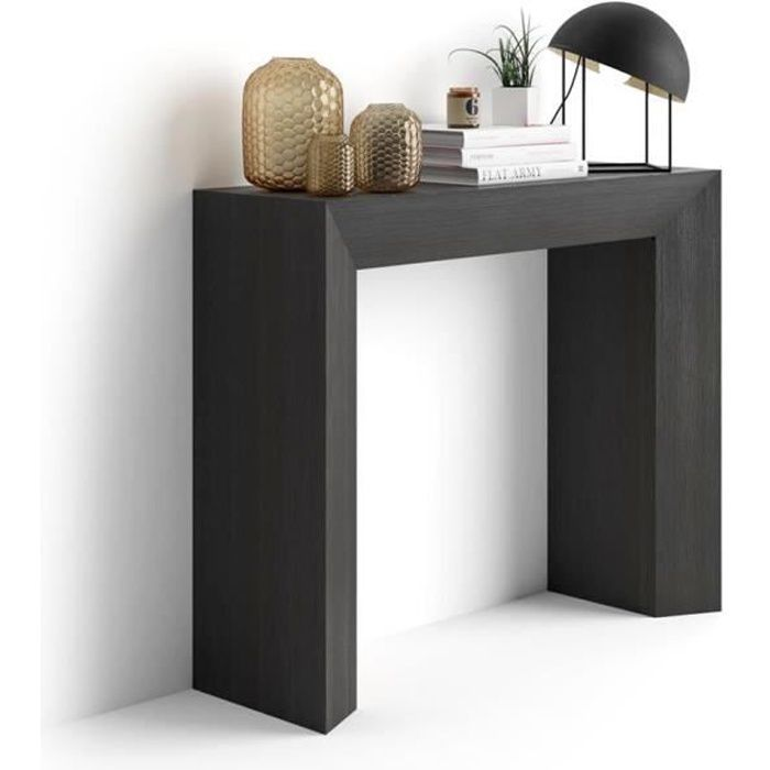Mobili Fiver, Table console Giuditta, Frêne noir, Mélaminé, Made in Italy