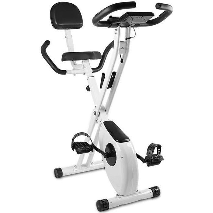{Yeehoo} X-Bike Pliant Vélo d'appartement Pliable avec dossier - Écran LCD avec rythme cardiaque - Vélo d'Exercice d'Intérieur Blanc