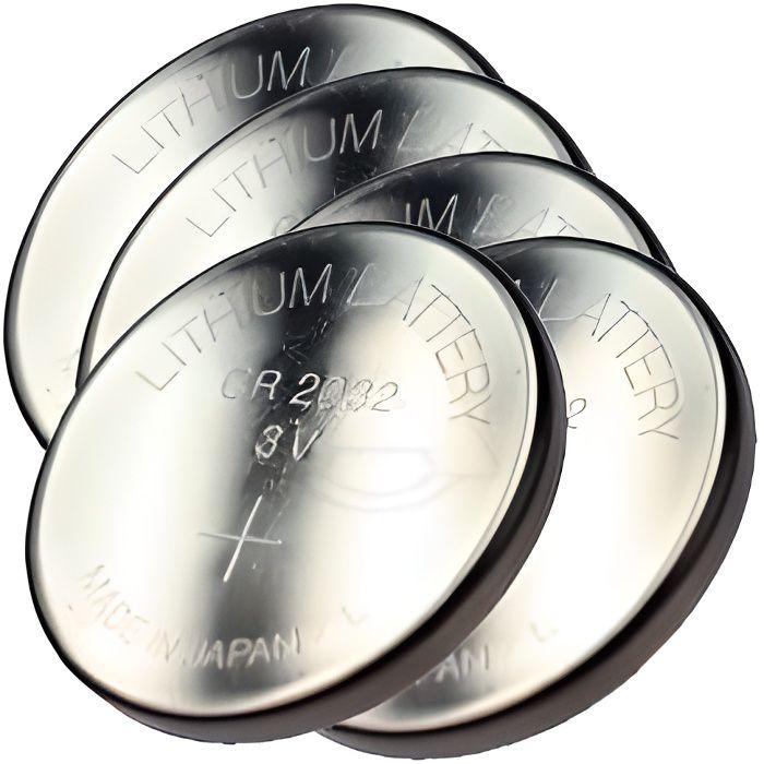 Lot de 5 piles boutons cr2032 au lithium