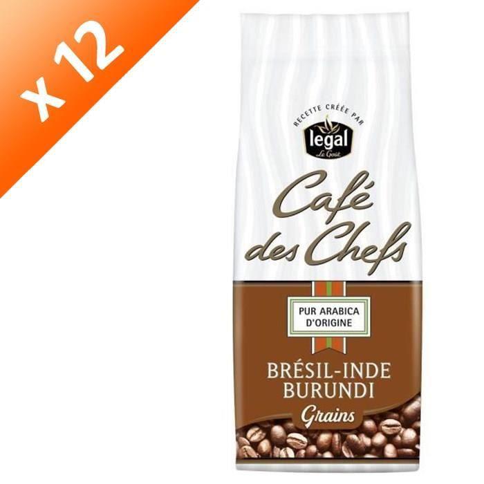 [LOT DE 12] LEGAL Cafés des Chefs Brésil Inde Burundi Grains - 250 g