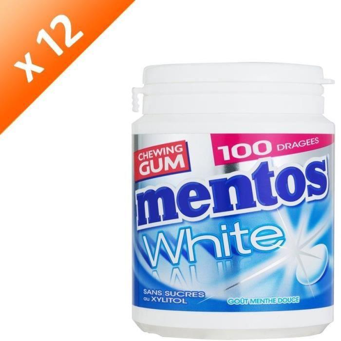 [LOT DE 12] MENTOS GUM WHITE Bottle de 100 dragées sans sucres - Menthe douce