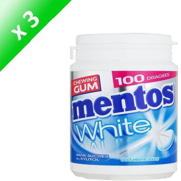[LOT DE 3] MENTOS GUM WHITE Bottle de 100 dragées sans sucres - Menthe douce
