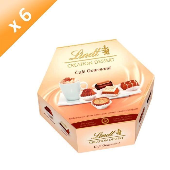 [LOT DE 6] LINDT Assortiment de 20 bouchées de chocolat au lait, noirs et blancs - 193 g