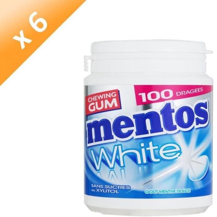 [LOT DE 6] MENTOS GUM WHITE Bottle de 100 dragées sans sucres - Menthe douce