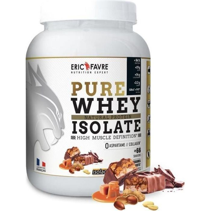 Pure Whey Proteine Native 100% Isolate - Eric Favre 2kg Caramel Choco Peanuts - Edition Limitée