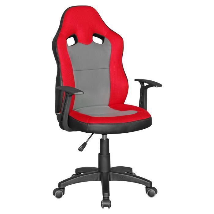 FineBuy Chaise de bureau enfant Chaise pivotante Fauteuil Tissu Ergonomique [Rouge]