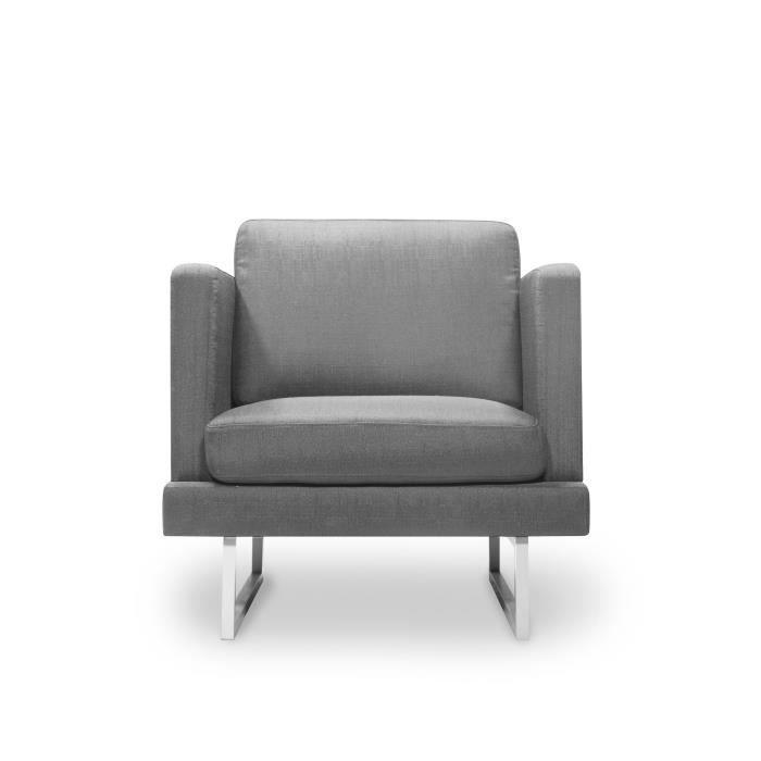 FINLANDEK Fauteuil WESTWOOD - Tissu gris - Contemporain - L 80 x P 81 cm