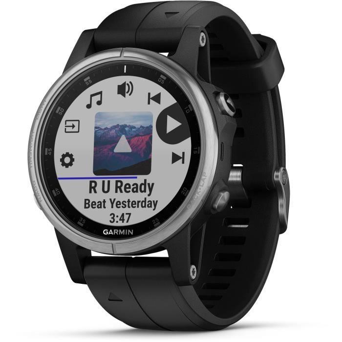 GARMIN Fenix 5S Plus - Montre GPS multisports avec cartographie - Silver avec bracelet noir