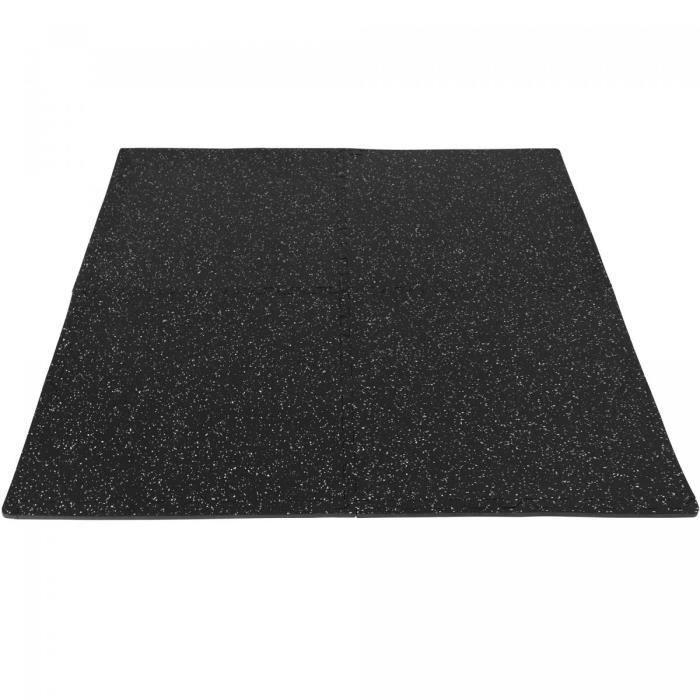 Tapis de protection en caoutchouc noir/blanc - 4 dalles + 8 embouts de finition