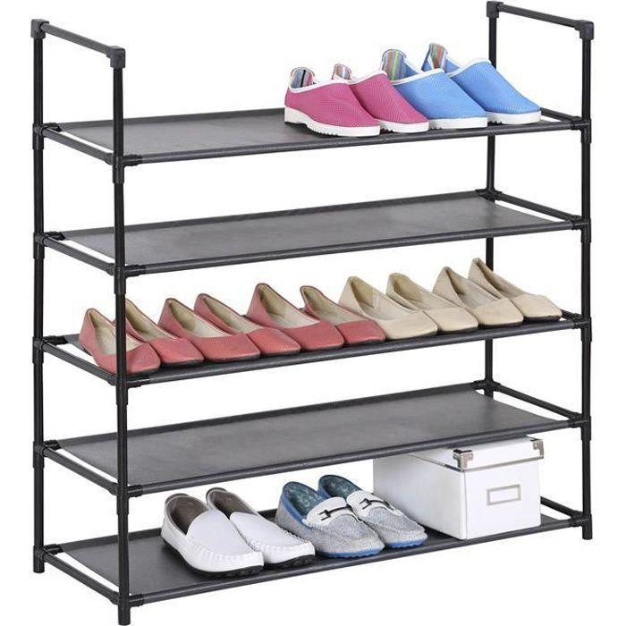 Etagères à chaussures WILLY rangement avec 5 tablettes en tissu et une structure en métal laqué noir