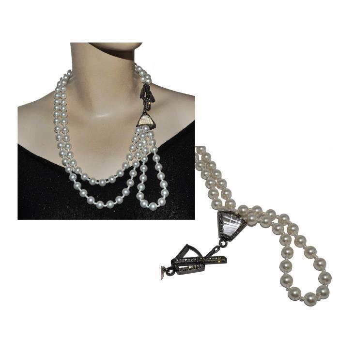 Collier signé Lanvin perles nacrées cristal métal argenté
