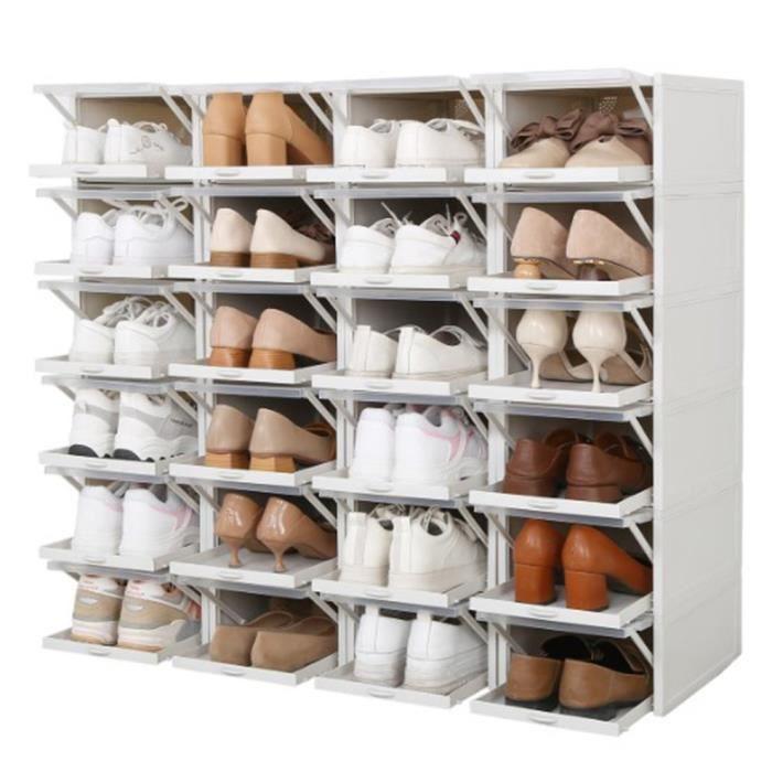 Armoire à chaussures de rangement de type tiroir transparent pour hommes Boîte à chaussures en plastique domestique, gris, grand
