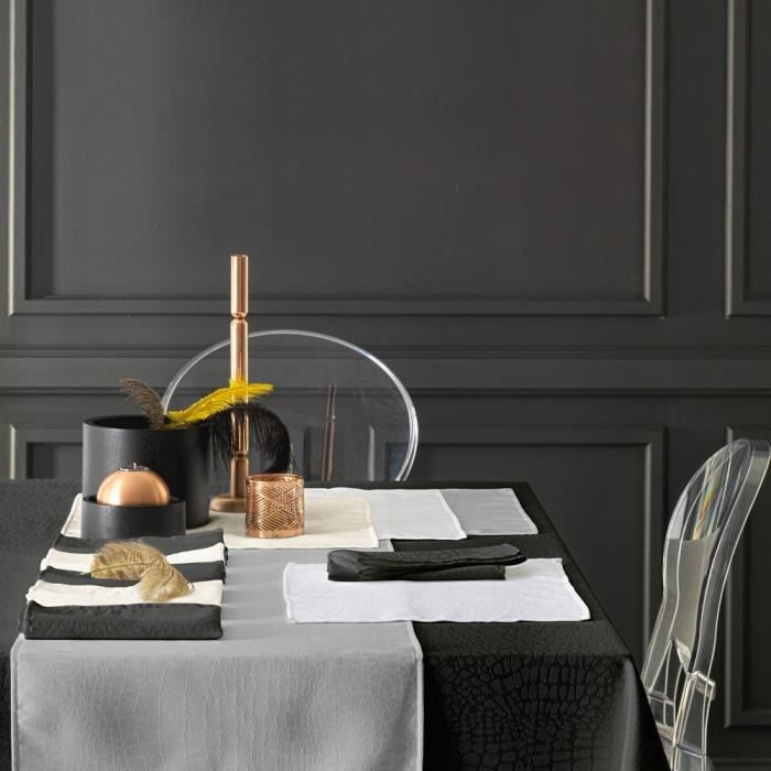 Nappe carrée 175x175 cm Jacquard 100% polyester LOUNGE noir Autre Noir