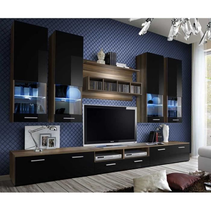 Meuble Tv Mural Design -dorade- 300cm Noir & Prunier - Paris Prix