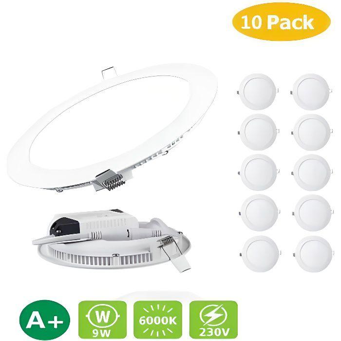 Lot de 10 Spots Encastrable LED Downlight - Panel extra-plat - 3W - Blanc neutre(4000-4500k)