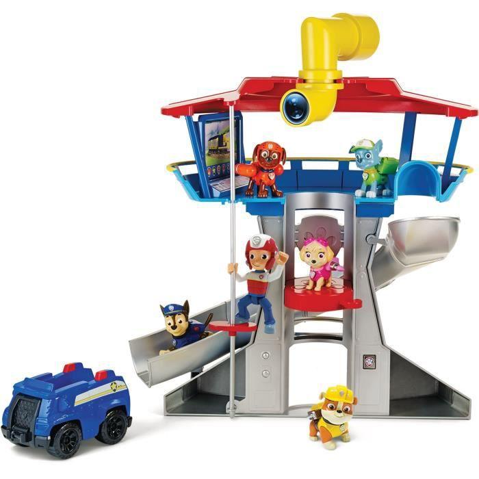 PAT PATROUILLE - QUARTIER GENERAL Paw Patrol + véhicule figurine Chase - Effets Sonores lumineux - Jouet Enfant 3 Ans et +