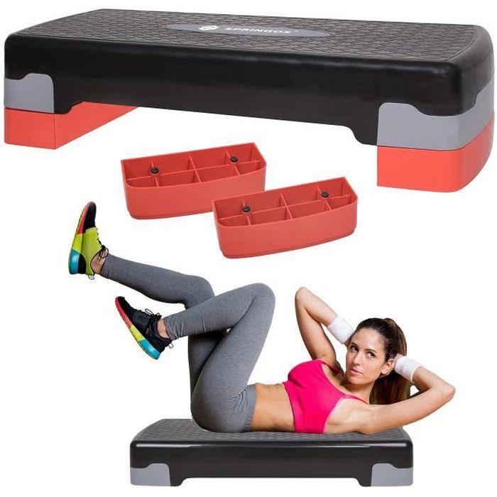 SPRINGOS® Aérobic Stepper, Réglable Stepper d'exercice, 2 niveaux de hauteur, antidérapant - Rouge