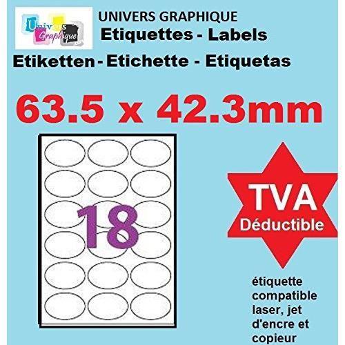 20 Planches de 18 étiquettes ovale 63.5 x 42.3 mm = 360 etiquettes - Blanc Mat - pour imprimantes Laser et Jet d'encre - Feuilles A4