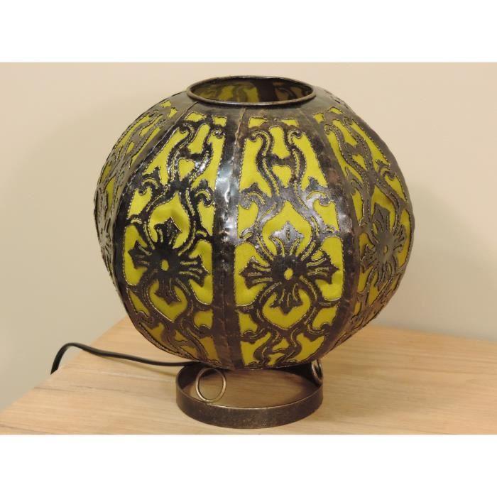 Lampe en acier ronde olive 22 cm