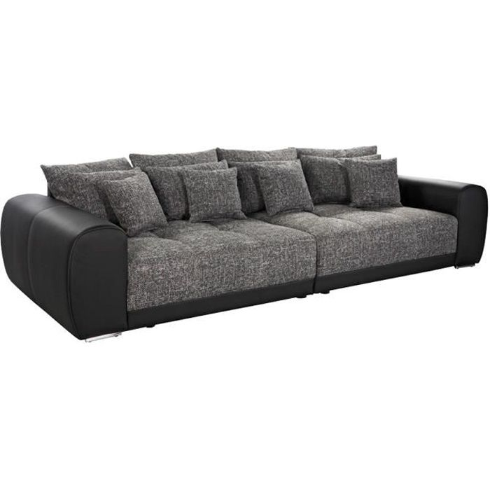 grand canap droit 39 byouty 39 noir noir 4 places achat vente canap sofa divan cdiscount. Black Bedroom Furniture Sets. Home Design Ideas