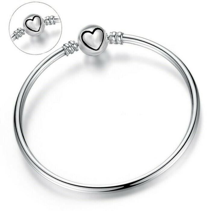 """diametre 62 alliage argenté serti de cristal blanc Bracelet /""""coeur/"""" jonc femme"""