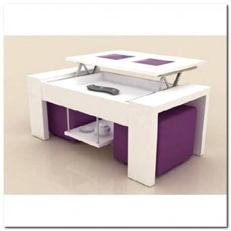Table basse plateau relevable blanche 2 poufs violet for Table basse blanche plateau relevable