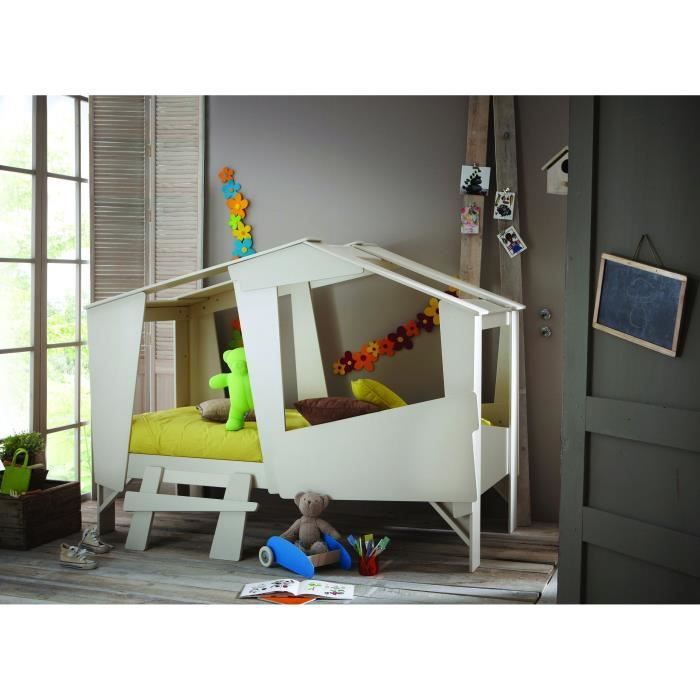 cabane lit enfant 90 x 200 cm taupe beige achat vente. Black Bedroom Furniture Sets. Home Design Ideas