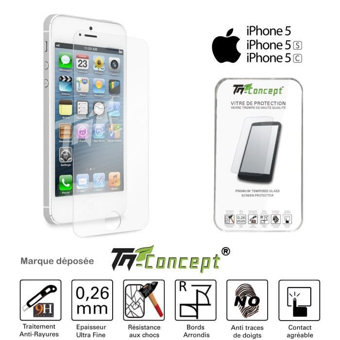 tm concept vitre de protection iphone 5 5c 5s achat. Black Bedroom Furniture Sets. Home Design Ideas