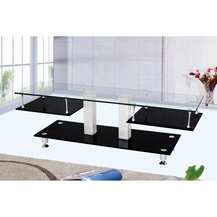 Meuble tv design verre noir transparent supp alu achat for Meuble design