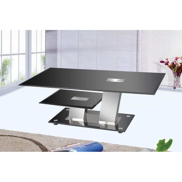 Table basse design noir trendy achat vente table basse table basse design - Table salon cdiscount ...
