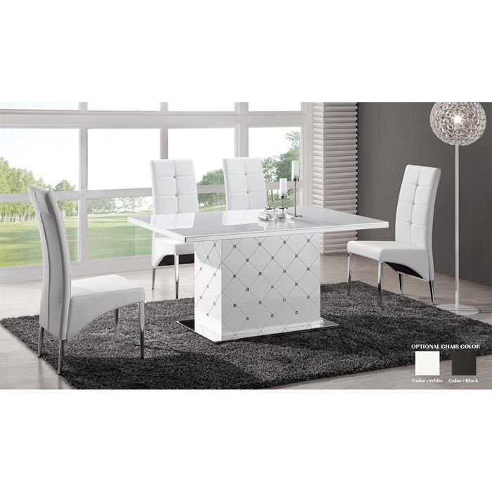 table de repas laqu e blanche blanc chana achat vente table a manger seule table de repas. Black Bedroom Furniture Sets. Home Design Ideas