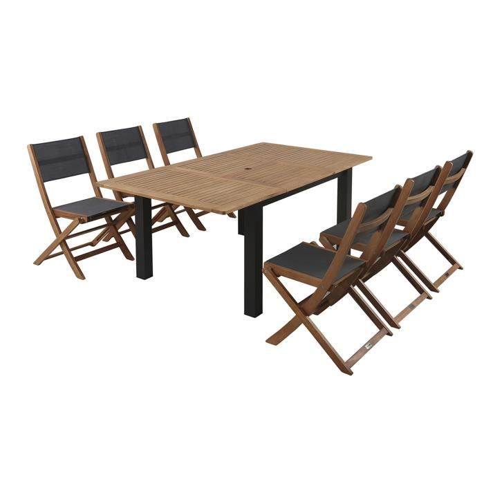 finlandek ensemble repas 180 cm 6 places en eucalyptus puisto achat vente salon de. Black Bedroom Furniture Sets. Home Design Ideas