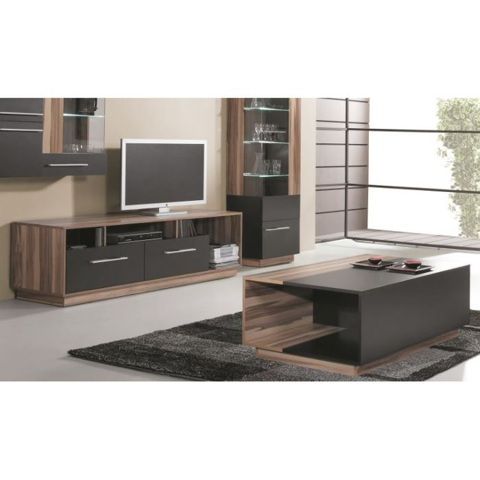 Pack salon meuble tv design table basse black achat for Meuble de salon design