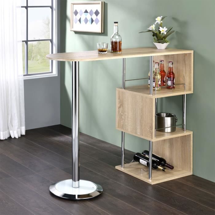 Table haute de bar vigando mdf d cor ch ne sonoma achat for Achat table bar