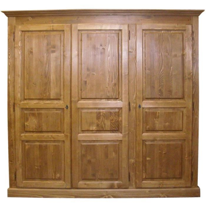 armoire 3 portes en pin massif cir miel bois achat vente armoire de chambre armoire 3. Black Bedroom Furniture Sets. Home Design Ideas