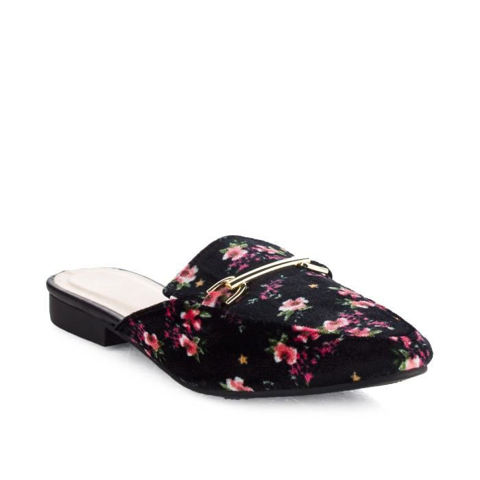 Slip Fashion On Flat Mocassins Diapositives chaussons XKJOB Taille-39 1-2 PgbtuHU