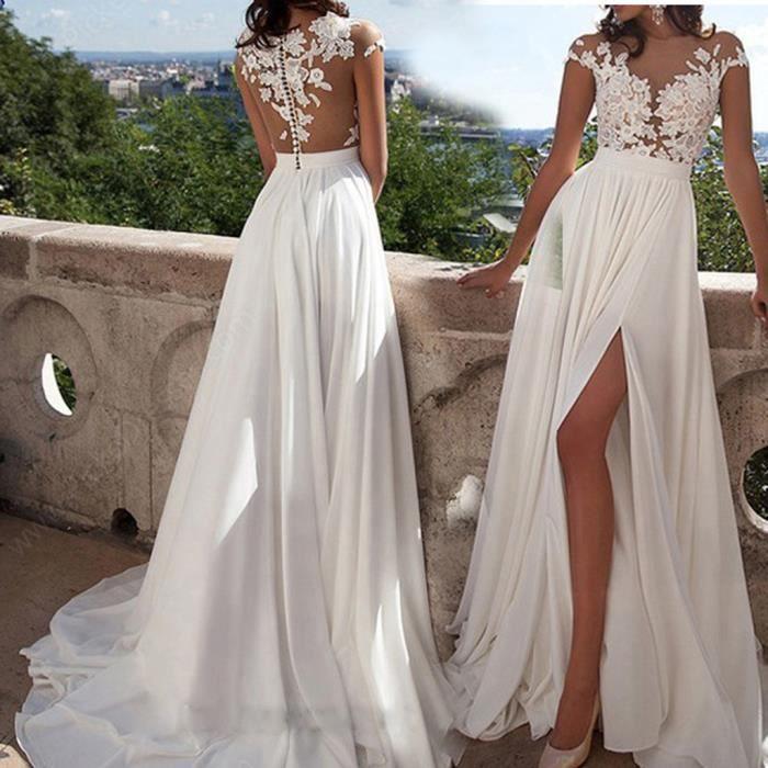 Robe de mariée à manches courtes vintage