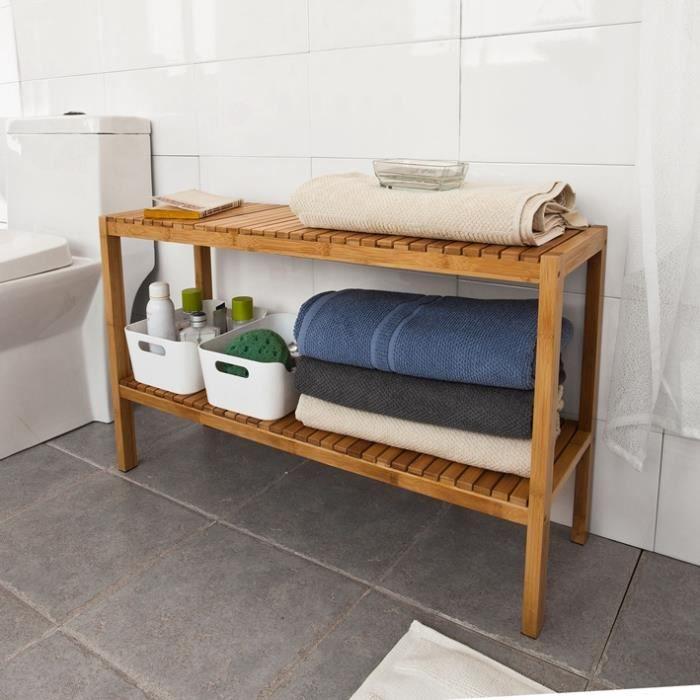 SoBuy® FSR14-L-N Étagère salle de bain en bambou rangement chaussures -  salle de bain - L80xP26xH50cm