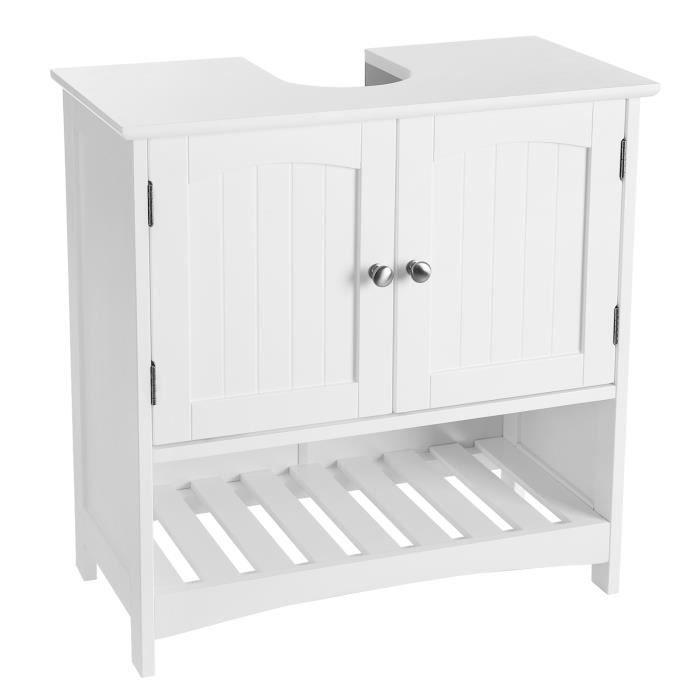 VASAGLE Meuble sous lavabo,Meuble de salle de bains,avec Casier  ouvert,Style cottage,Dimensions: 60 x 30 x 60 cm (L x l x H),BBC03WT