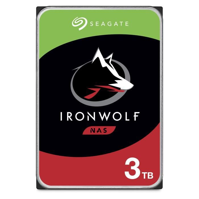 "DISQUE DUR INTERNE Seagate NAS HDD Iron Wolf 3To 3,5""  ST3000VN007"